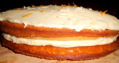 Delicious homemade orange buttercream and marmalade sponge cake!